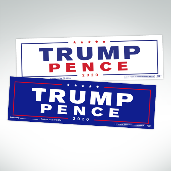 Trump Pence 2020 whte and blue bumper stickers