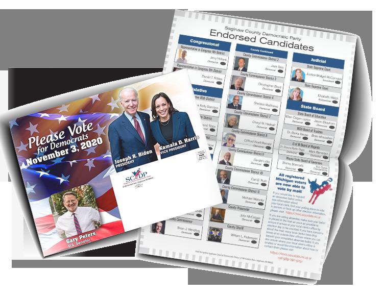 Slate card flat and folded styles. Vote Democrat November 3, 2020. Endorsed Candidates ballot style.